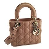 DIOR 豆沙粉色菱格紋羊皮手提斜背兩用Lady Dior包(九成新)