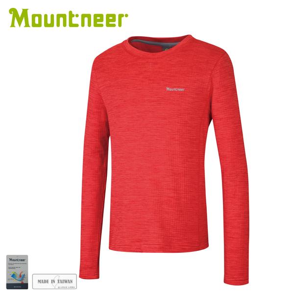 【Mountneer 山林 男圓領雲彩針織保暖衣《紅》】22P17/保暖上衣/長袖上衣/圓領長袖