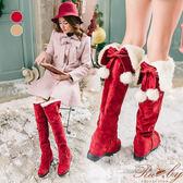 靴子 蝴蝶結毛球綁帶兩穿反摺內增高長靴-Ruby s 露比午茶