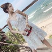 海邊度假沙灘裙女夏2019新款巴厘島泰國顯瘦吊帶露背連身裙短裙仙