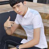 白襯衫男短袖修身正韓夏季青年學生百搭潮流薄款休閒帥氣襯衣 森雅誠品