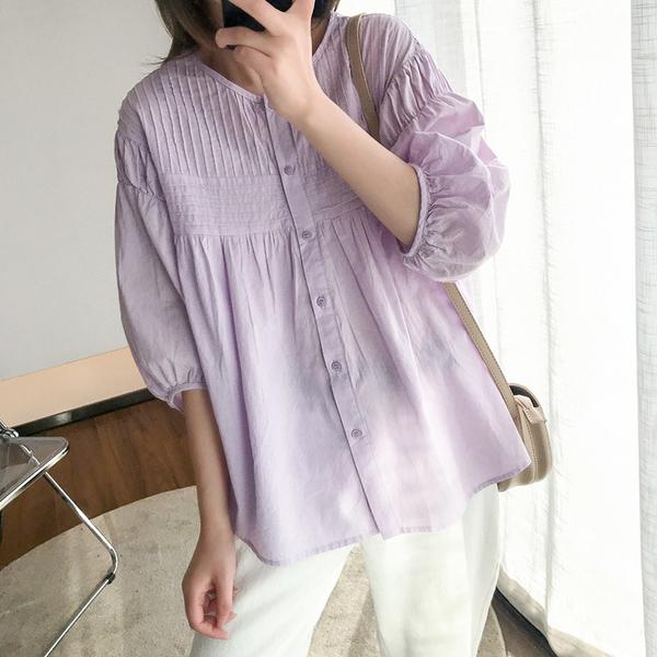 現貨 甜美壓褶泡泡袖襯衫上衣中大尺碼【88-12-8010302-20】ibella 艾貝拉