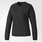 Adidas Sweat Dn 女 黑 大標誌衛衣 棉 大學T 毛圈棉衛衣 愛迪達 長袖T恤 CW0092
