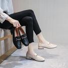 夏季皮鞋單鞋女2020年新款百搭粗跟高跟鞋子小皮鞋一腳蹬豆豆鞋女夏天 HR358【極致男人】