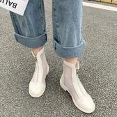 馬丁靴涼鞋女仙女風網紗女鞋2020春季新款小跟涼靴百搭鏤空靴網靴