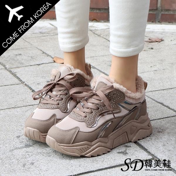 韓國空運 新品搶先跑 街頭休閒風 異材質拼接 內鋪毛 5cm顯瘦老爹鞋【F713202】版型偏小 / SD韓美鞋