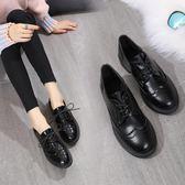 皮鞋 平底鞋女單鞋秋季豆豆鞋女英倫風黑色小一腳蹬樂福鞋-新主流