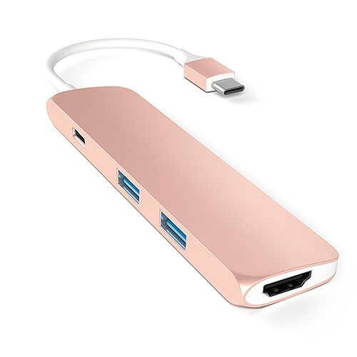 【美國代購】Satechi 鋁合金 Type-C Hub with Charging Port, 4K HDMI for MacBook 12/MBP 2016-Rose Gold