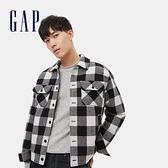 Gap男裝 羊毛混紡格紋開襟翻領外套 593075-黑白方格