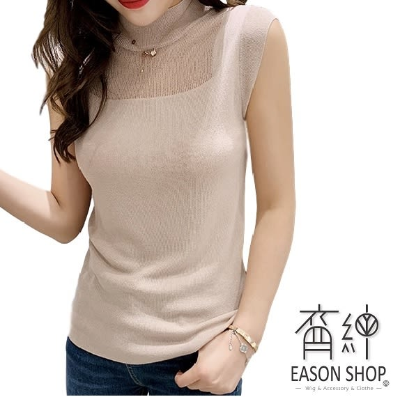 EASON SHOP(GW2085)韓版純色半鏤空小透視短版小高領無袖冰絲針織衫背心女上衣服彈力貼身內搭衫白色