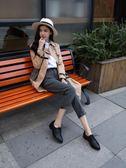 布洛克鞋 歐美布洛克春秋單鞋女英倫平底尖頭真皮中粗跟復古系帶小皮鞋學院 珍妮寶貝