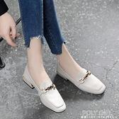 大東女鞋秋季2021新款英倫小皮鞋女軟皮百搭粗跟單鞋女樂福鞋 喜迎新春