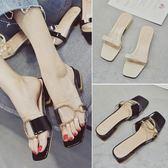 涼拖鞋女夏時尚外穿新款韓版百搭時尚金屬扣粗跟中跟一字拖鞋 薔薇時尚