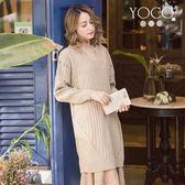 東京著衣【YOCO】慵懶美人多色V領長版針織洋裝-S.M.L(171821)