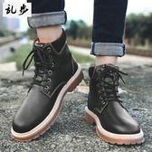 馬丁靴 中筒靴子男士馬丁靴男英倫風高筒男鞋pu皮靴工裝雪地靴棉鞋 酷我衣櫥