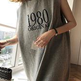 字母背心連身裙休閒無袖洋裝 簡約百搭寬鬆數字背心裙 艾爾莎【TAE6884】