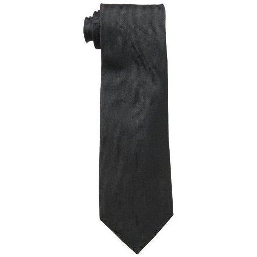 CK 男時尚Silver Spun 黑色真絲領帶