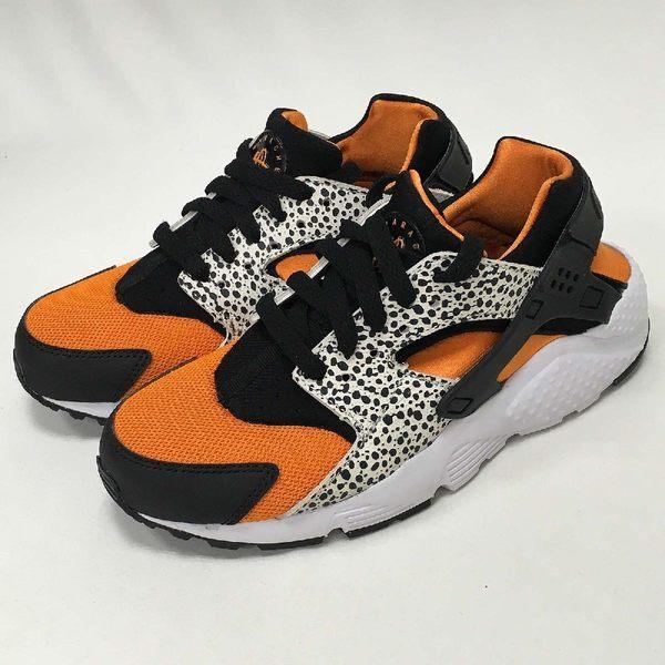 【NG出清】Nike 武士鞋 Huarache Run Safari GS 黑 橘 蟾蜍紋 女鞋 二手品 略有使用痕跡【PUMP306】