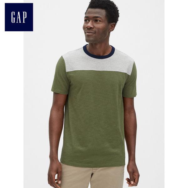 Gap男裝 復古竹節針織拼色短袖T恤 464076-軍綠色