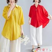 棉麻上衣素色棉麻燈籠中袖襯衫夏季新款氣質大碼寬鬆顯瘦不規則V領上衣女 愛丫 新品