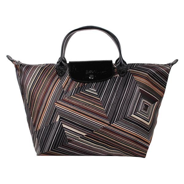 Longchamp幾何風格錯視條紋短提把中型水餃包(卡其色)480536-292