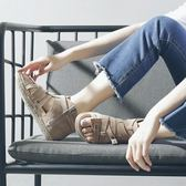 港味復古chic涼鞋女仙女鞋復古夏平底2018新款簡約學生韓版厚底 森活雜貨