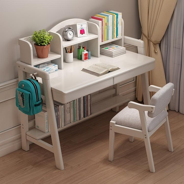 北歐電腦桌實木書桌臺式家用中小學生學習桌簡約現代書桌書架組合 LX 夏季上新