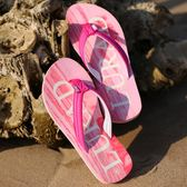 時尚木紋女士人字拖 夏季防滑平底夾拖涼拖鞋厚底沙灘鞋韓 【販衣小築】