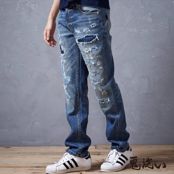【5折限定】鬼洗補破低腰窄直筒褲- BLUE WAY  鬼洗い