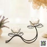 蠟燭台 歐式家居裝飾品鐵藝荷花蠟燭台燭光晚餐道具浪漫婚慶餐桌燭台擺件 一件免運