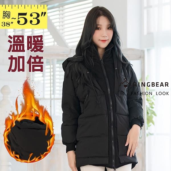 風衣外套--保暖顯瘦拉鍊口袋羅紋袖口假兩件連帽羽絨棉大衣外套(黑M-3L)-J274眼圈熊中大尺碼