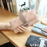 長夾 凡元素韓版新款長款女士錢包撞色搭扣簡約大容量多卡位錢夾手拿包 艾家
