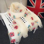 春秋韓版繡花拼接圍巾女百搭旅行披肩兩用刺繡雪紡絲巾長款紗巾薄