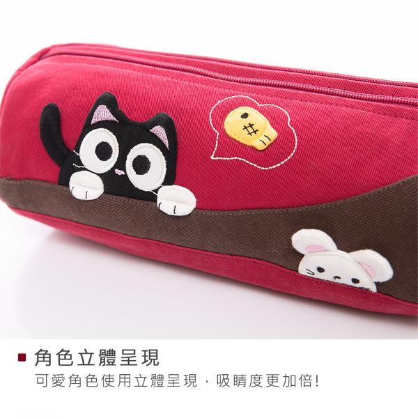 Kiro貓‧小黑貓與白鼠 圓筒 雙層 化妝包/筆袋/收納包【820111】