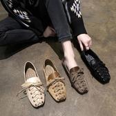 新款小清新交叉帶方頭淺口單鞋女韓版舒適軟底兩穿休閒鞋 探索先鋒