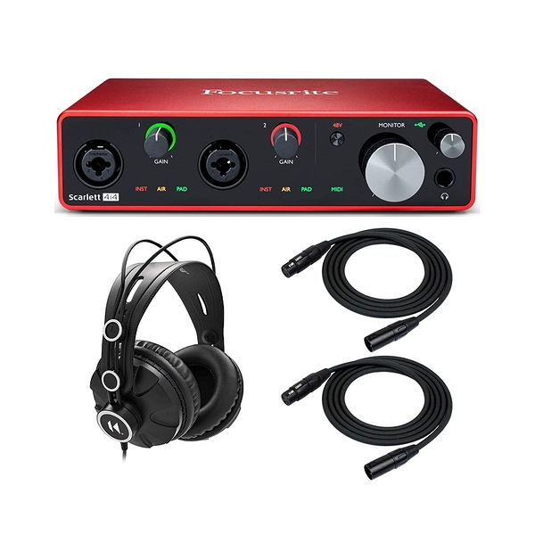 Focusrite Scarlett 錄音介面 4i4 3rd Gen 4x4 USB Audio Interface Bundle with Headphones and 2 XLR Cables [2美國直購]