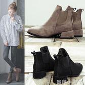 短靴切爾西靴女靴加絨馬丁靴女春秋新款粗跟單靴圓頭平底裸靴 蘿莉小腳ㄚ