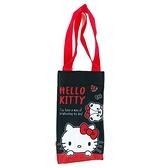 小禮堂 Hello Kitty 方形尼龍保冷水壺袋 保冷杯袋 環保杯袋 飲料杯袋 (黑 大臉) 4713218-20252