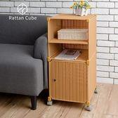 【藤立方】組合2層置物架(1門板+1層板+附輪)-蜂蜜色-DIY