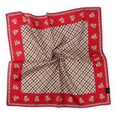 DAKS經典格紋泰迪熊100%純棉帕巾(紅色)989108-129