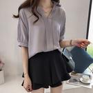 (免運)DE shop - 素面七分袖雪紡襯衫 - XA-5504