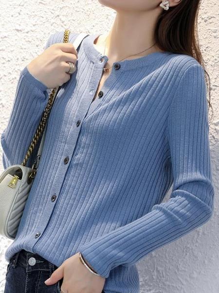 針織外套 秋冬女士外搭針織開衫圓領外套寬鬆時尚短款非羊絨打底衫 芊墨左岸