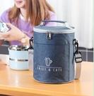 便當袋 飯盒手提包圓形保溫袋鋁箔加厚便當包上班族學生帶飯大容量手拎筒【快速出貨八折鉅惠】