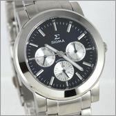 【萬年鐘錶】SIGMA 黑白圈 三眼時尚腕錶 8807M-3