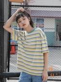 可愛條紋t恤女日系衣服學生短袖彩虹上衣【橘社小鎮】