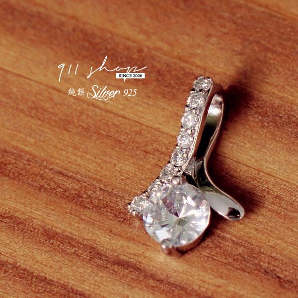 Fleur.925純銀緞帶夾鑽項鍊墜飾(不含鍊)【s189】*911 SHOP*