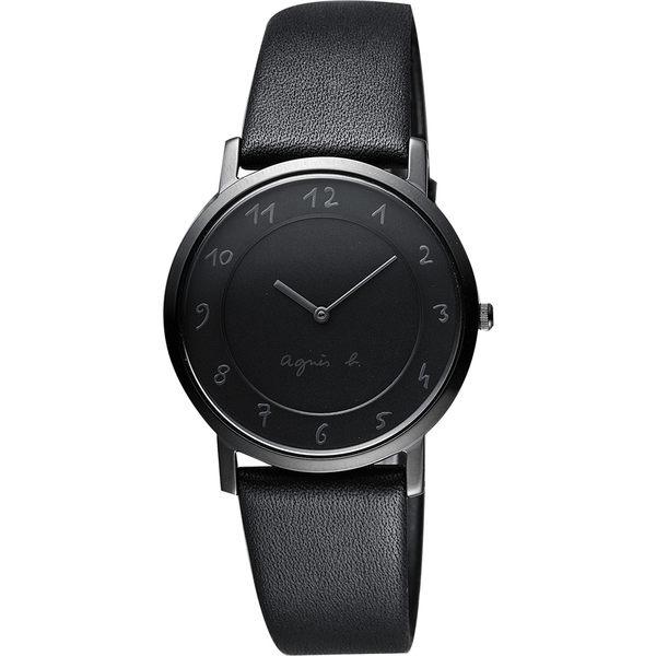 agnes b. 法國時尚藝術輕薄石英女錶-黑/34mm 7N00-0BC0N(BG4008P1)