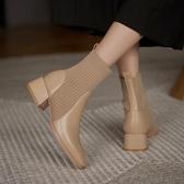 襪靴 馬丁靴女短靴2020新款秋冬中跟粗跟方頭顯瘦高跟瘦瘦襪子靴彈力靴 韓國時尚週
