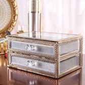 首飾盒復古玻璃銅條包邊飾品收納盒公主飾品桌面抽屜式帶首飾絨布 英雄聯盟