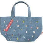 〔小禮堂〕角落生物 牛仔布手提袋《藍.滿版》手提包.便當袋 4974413-72192